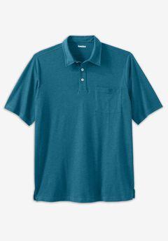 Shrink-Less™ Lightweight Polo T-Shirt, HEATHER TEAL
