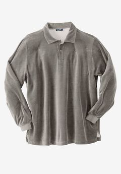Long-Sleeve Velour Polo,