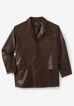 Three-Button Faux Leather Blazer, BROWN