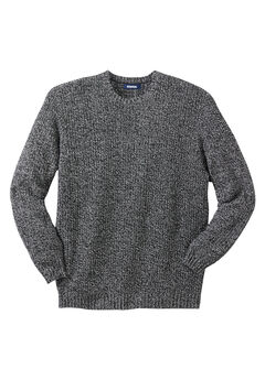 Knit Crewneck Sweater, BLACK MARL