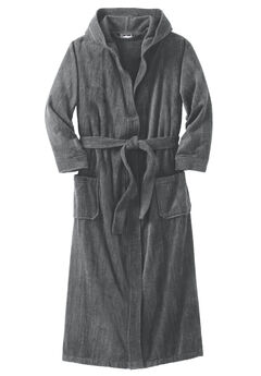 Terry Velour Hooded Maxi Robe, STEEL