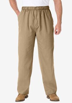 Knockarounds® Full-Elastic Waist Pants in Twill or Denim, KHAKI
