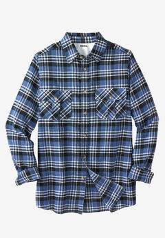 Plaid Flannel Shirt, SLATE BLUE PLAID