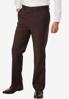 KS Signature No Hassle® Classic Fit Expandable Waist Plain Front Dress Pants, BROWN