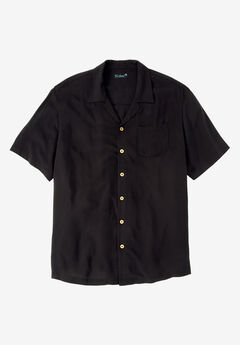 KS Island™ Tropical Rayon Short-Sleeve Shirt, BLACK