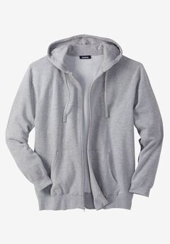 Fleece Zip-Front Hoodie, HEATHER GREY