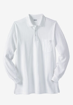 Longer-Length Long-Sleeve Piqué Polo, WHITE