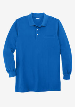 Longer-Length Long-Sleeve Piqué Polo, ROYAL BLUE