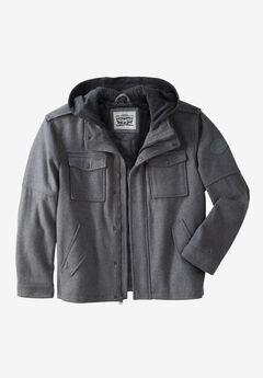 Wool Blend Hooded Trucker Jacket by Levi's®, LIGHT GREY