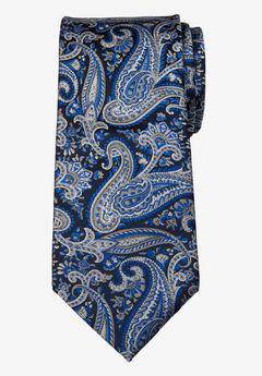 KS Signature Extra Long Classic Paisley Tie, COBALT BLUE PAISLEY