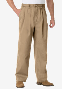 Knockarounds® Full-Elastic Waist Pleated Pants, KHAKI