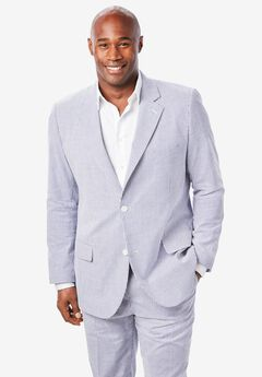 Linen Blend Two-Button Suit Jacket by KS Island™, NAVY STRIPE SEERSUCKER