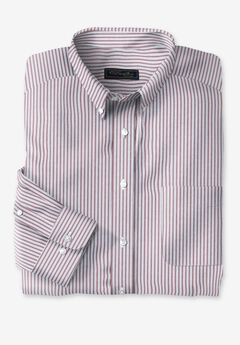 KS Signature Wrinkle-Resistant Oxford Dress Shirt, LIGHT GREY STRIPE