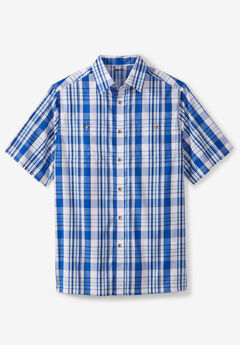 Short-Sleeve Plaid Sport Shirt, ROYAL BLUE PLAID