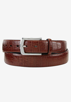 Crocodile Print Leather Belt,
