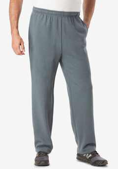Wicking Fleece Open Bottom Pants by KS Sport™, HEATHER DARK SLATE