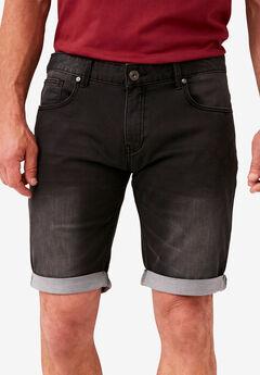 Super Stretch Denim Shorts by Replika®, BLACK USED WASH
