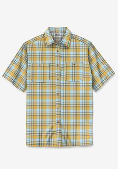 Short-Sleeve Plaid Sport Shirt, YELLOW PLAID