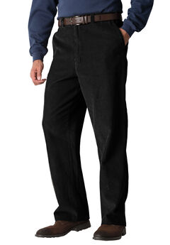 Expandable Waist Corduroy Pleat-Front Pants,
