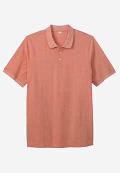 Longer-Length Piqué Polo Shirt, HEATHER LIGHT ORANGE