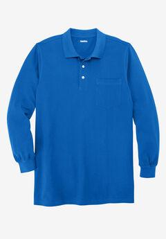Longer-Length Long-Sleeve Piqué Polo, ROYAL BLUE