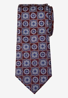 KS Signature Extra Long Classic Fancy Tie, BURGUNDY MEDALLION