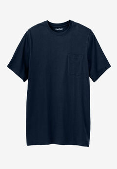Shrink-Less™ Lightweight Longer-Length Crewneck Pocket T-Shirt, NAVY