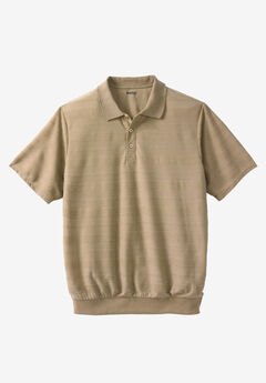 Soft Touch Textured Banded Bottom Polo Shirt,