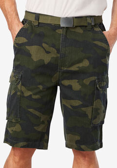 12' Side Elastic Cargo Short with Twill Belt,