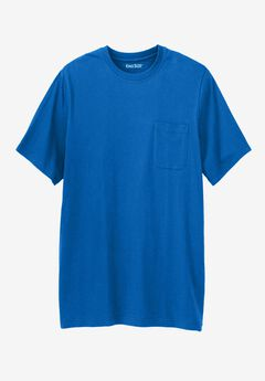 Lightweight Longer-Length Crewneck Pocket T-Shirt, ROYAL BLUE