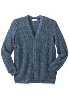 Shaker Knit V-Neck Cardigan Sweater, NAVY MARL