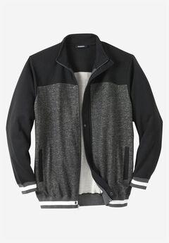 Coaches Collection Baseball-Inspired Jacket, HEATHER SLATE MARL