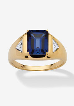 Men's 18K Gold over Sterling Silver Sapphire and Diamond Accent Ring,