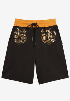 MVP Collections® Gold Floral Print Techno Knit Drawstring Short,