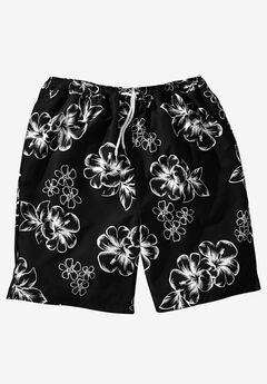 Hibiscus Print Swim Trunks,