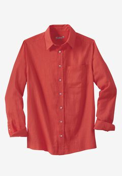 Linen Blend Dress Shirt by KS Island™, MELON