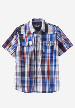 Summer Snap-Button Shirt by Liberty Blues®, NAVY PLAID