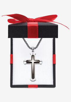 "Stainless Steel Cross Pendant with 24"" Chain,"