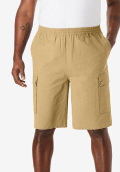 Full Elastic Waist Gauze Cargo Shorts,