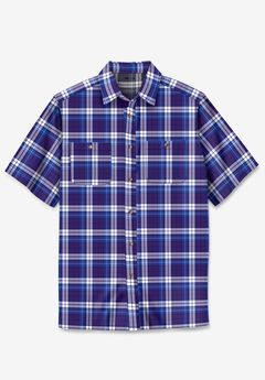 Short-Sleeve Plaid Sport Shirt, DARK PURPLE PLAID