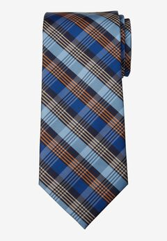 KS Signature Extra Long Classic Plaid Tie, ORANGE MULTI PLAID