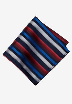 KS Signature Pocket Square, RED MULTI STRIPE