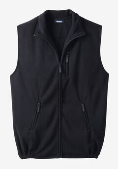 Fleece Zip Vest, BLACK