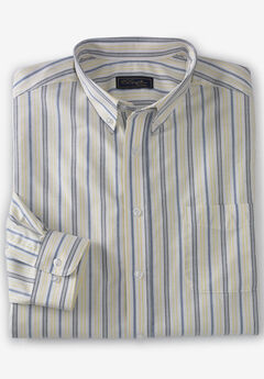 KS Signature Wrinkle-Resistant Oxford Dress Shirt, YELLOW STRIPE