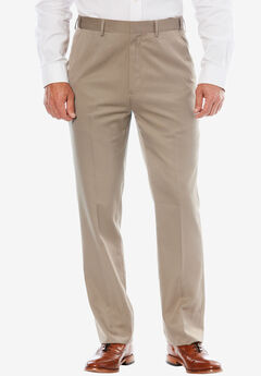 KS Signature No Hassle® Classic Fit Expandable Waist Plain Front Dress Pants, TAUPE
