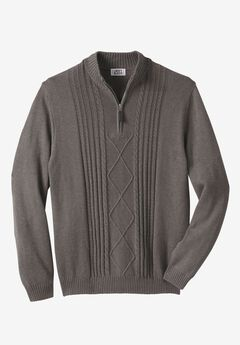 Shoreman's 1/4 Zip Cable Knit Sweater by Liberty Blues®,