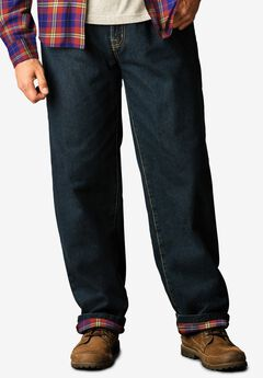 Flannel-Lined Side-Elastic Jeans,
