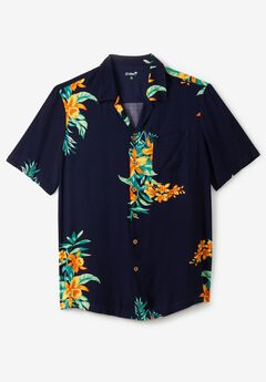 KS Island™ Tropical Caribbean Camp Shirt, NAVY FLORAL