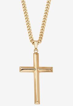 "Gold Filled Cross Pendant with 24"" Chain,"