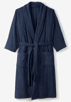 Terry Bathrobe with Pockets, NAVY